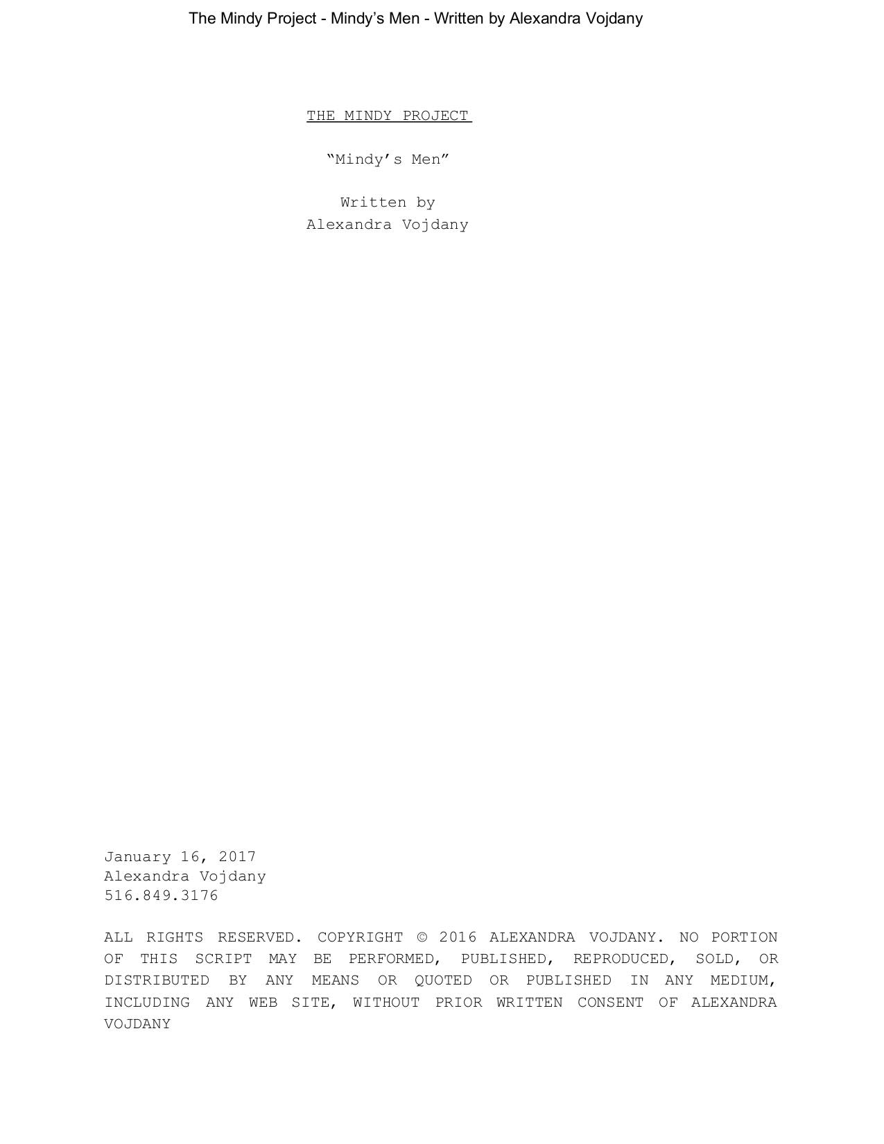 Screenplay: The Mindy Project
