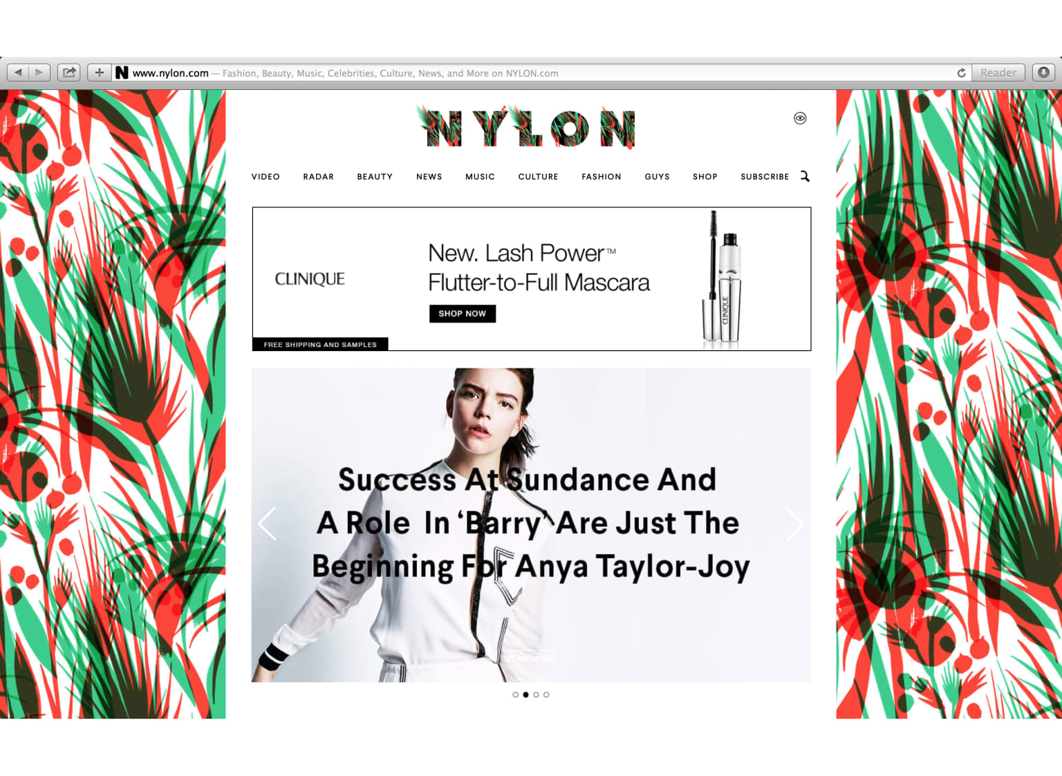NYLON Magazine logo and pattern
