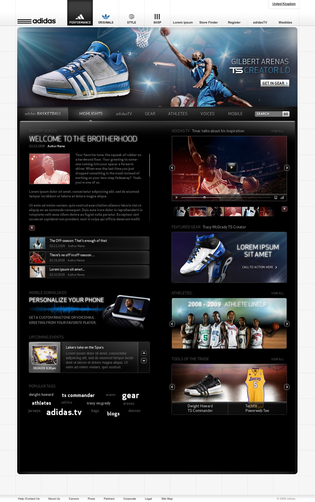 Adidas basketball web site