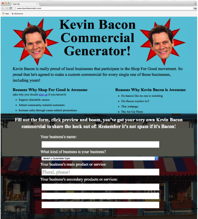 Kevin Bacon Commercial Generator