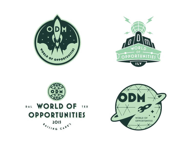 Raising Cane's world of opportunities logos (internal meeting/conference)