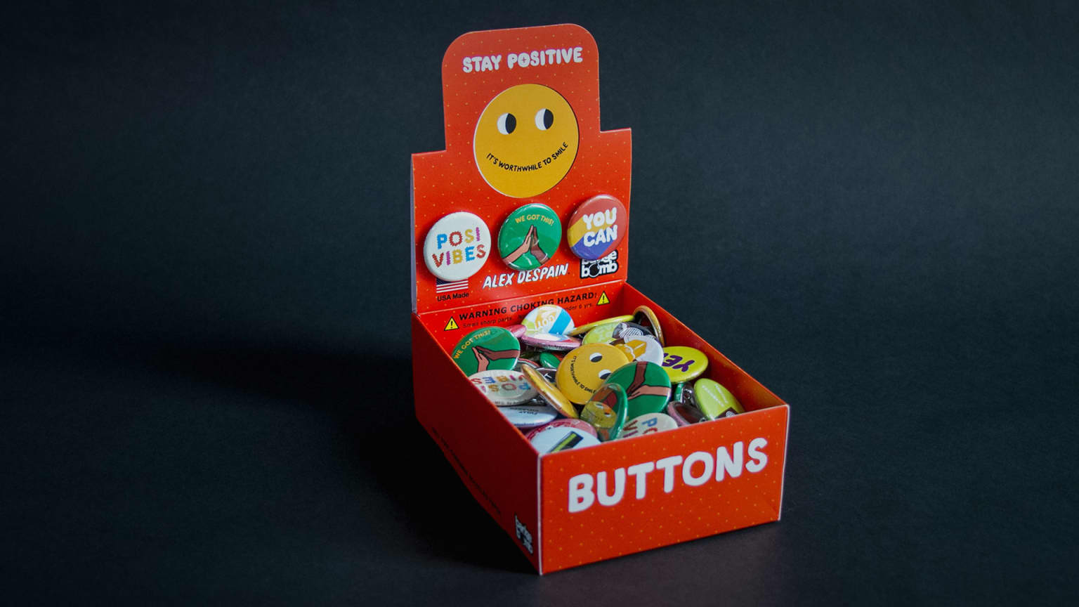 Badge Bomb: Stay Positive Button Box
