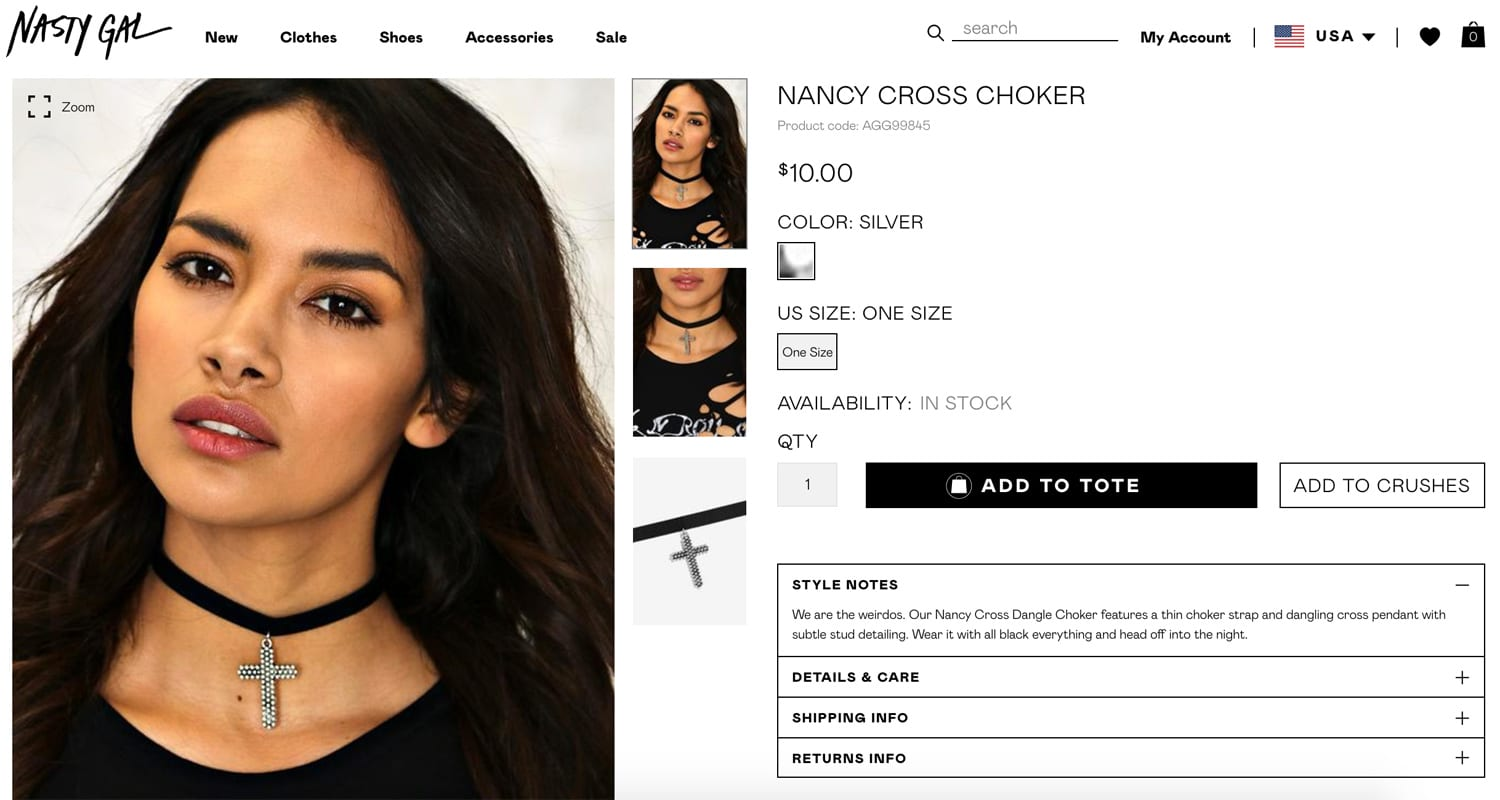 Nasty Gal Product Copy