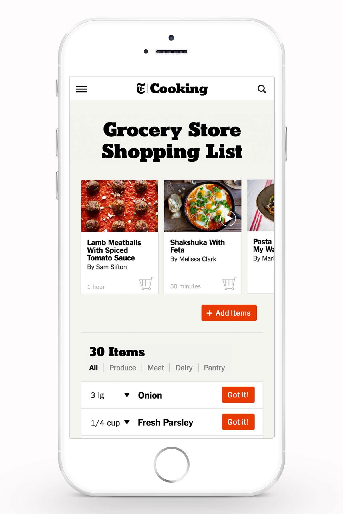 NYTimes Cooking - Shopping List