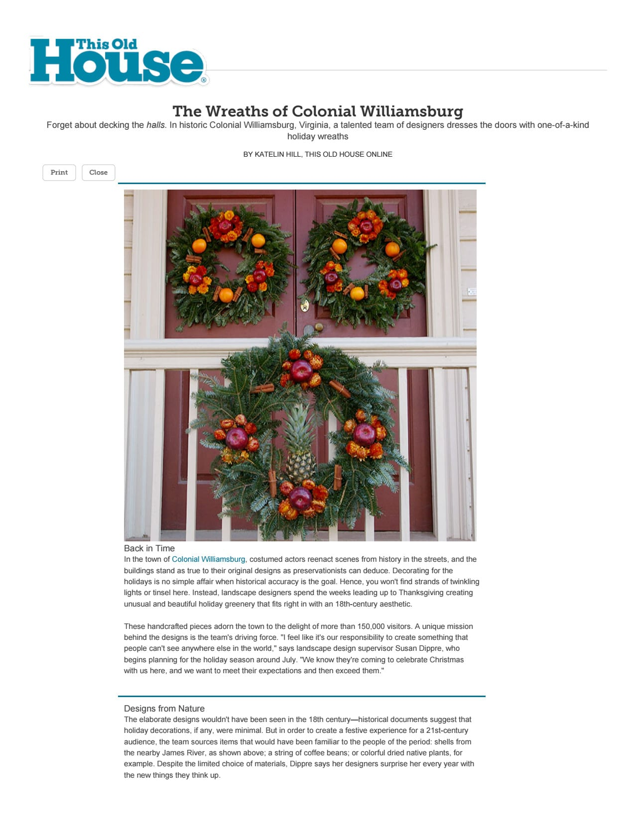 The Wreaths of Colonial Williamsburg: This Old House