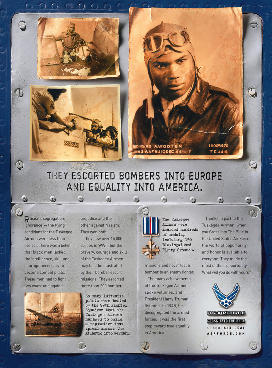 Commemorative ads celebrating the Tuskegee airmen
