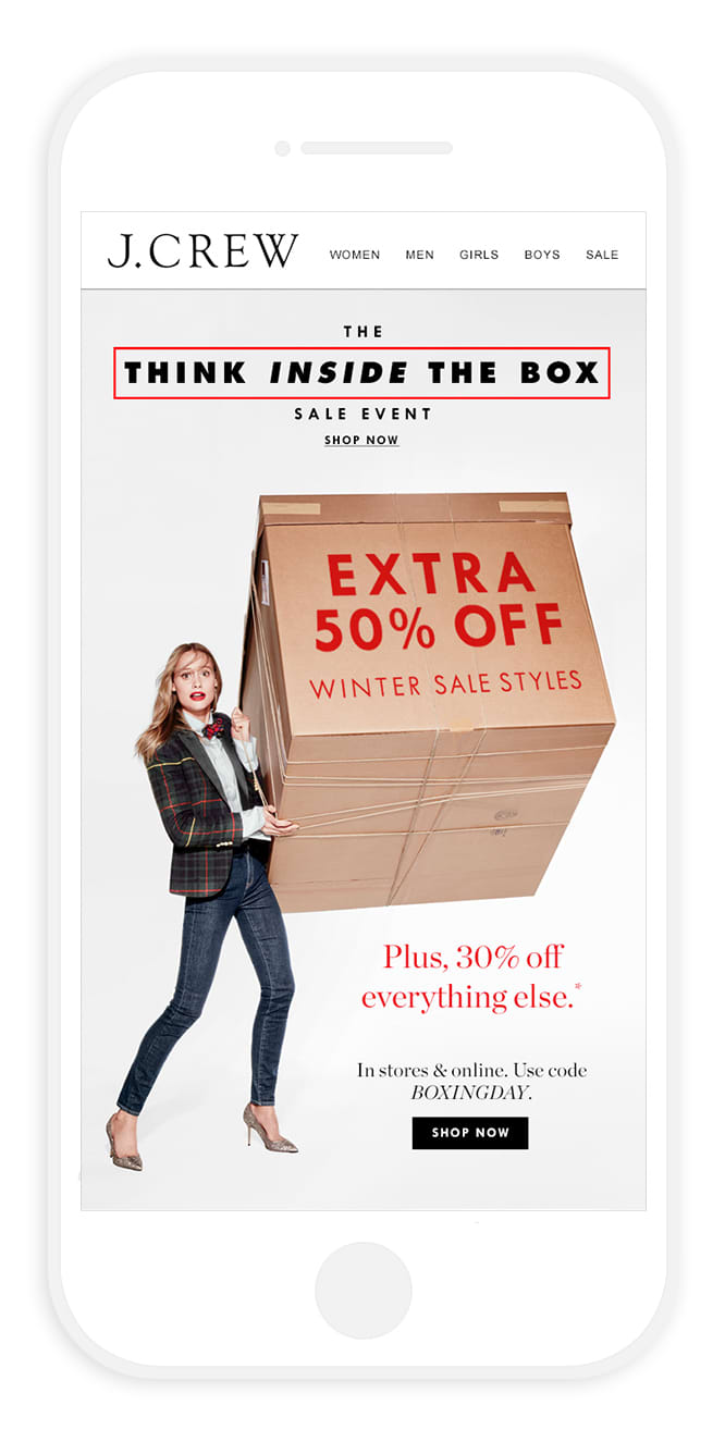 J.Crew Boxing Day promo