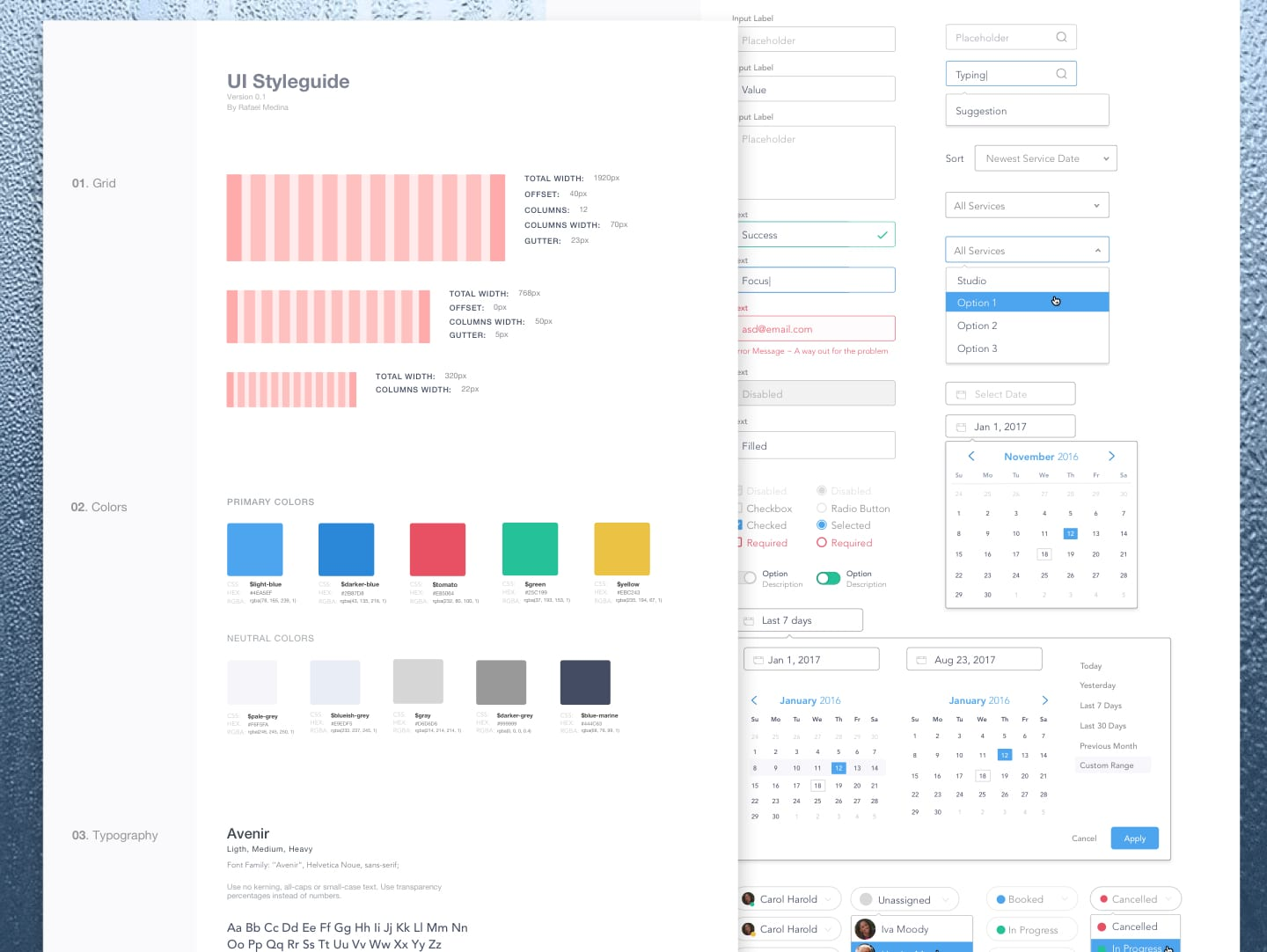 https://dribbble.com/shots/3304894-UI-Style-Guide-Cleaning-CRM-Dashboard