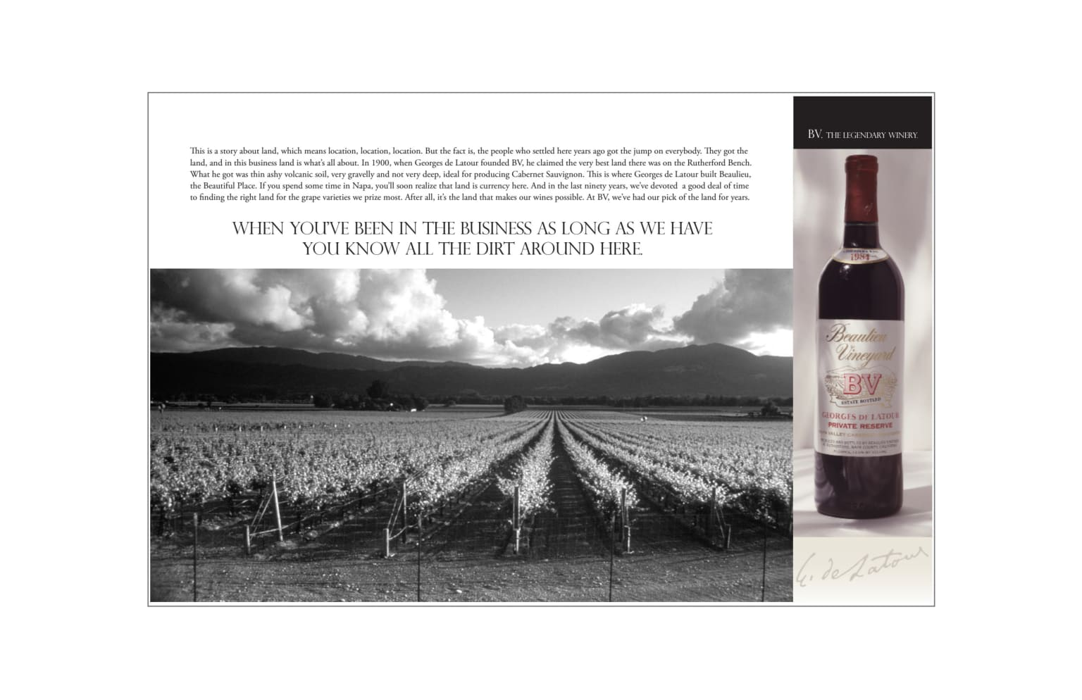 Print campaign for Beaulieu Winery