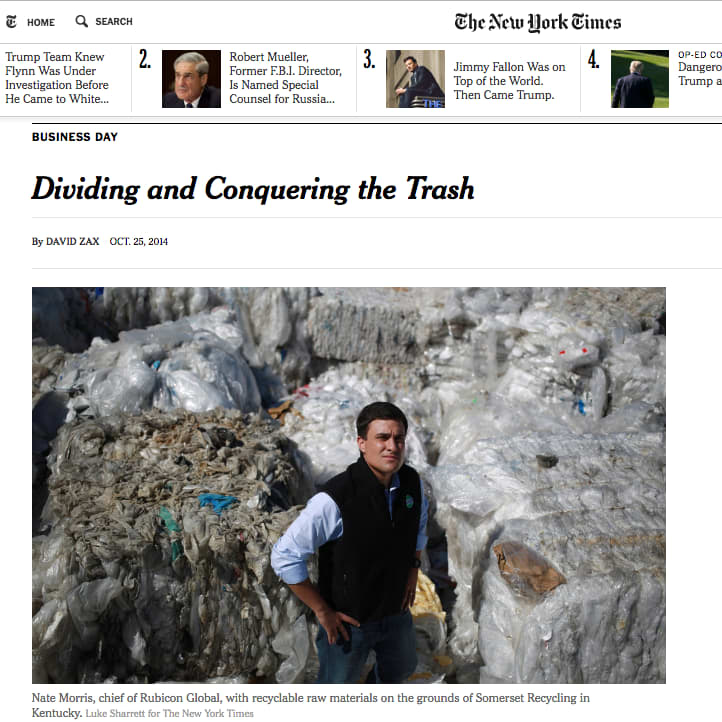 New York Times Sunday Business profile of Rubicon Global