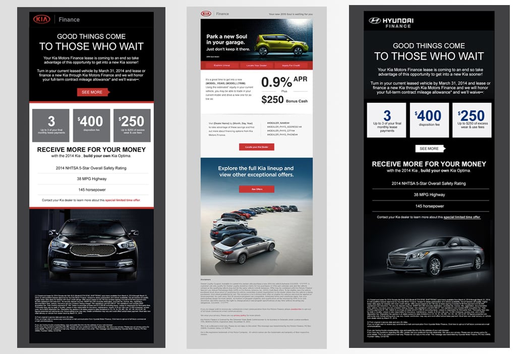 Hyundai and Kia Email Campaigns