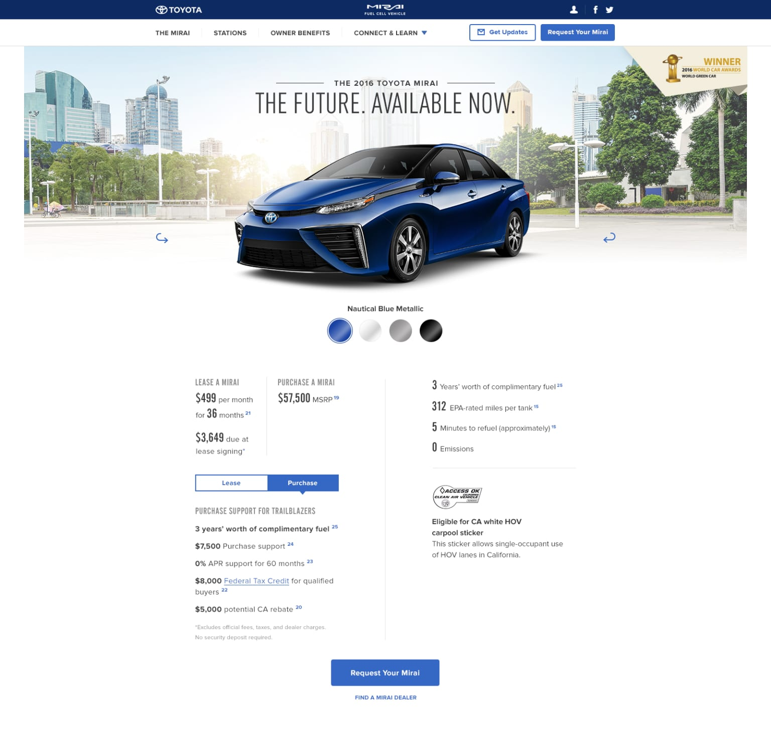 Toyota Mirai Website Refresh
