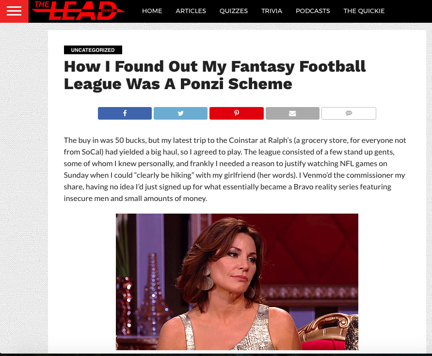 The Lead Sports - Fantasy Football is a Ponzi Scheme