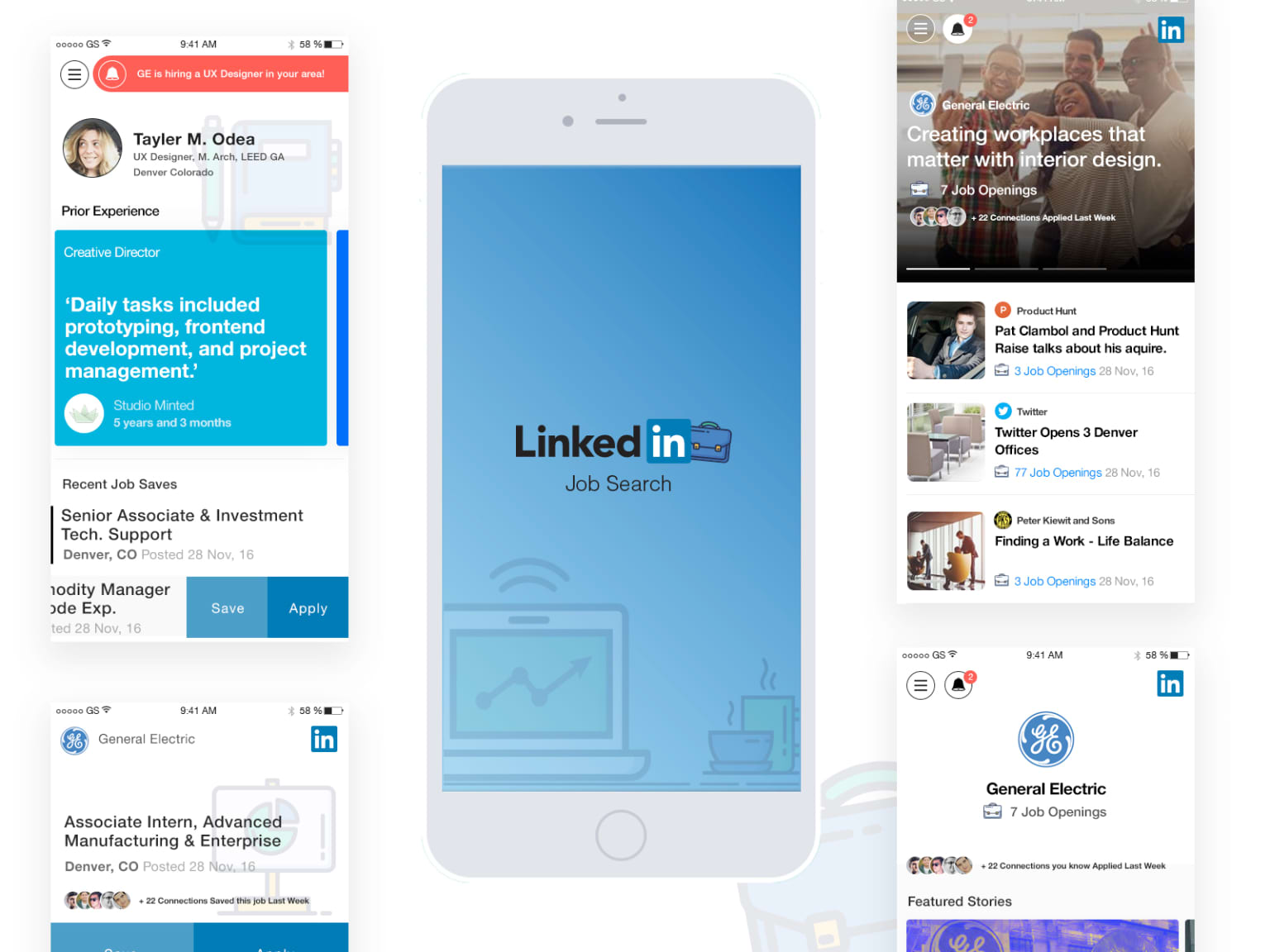 Linked In Job Search App High Fedelity Promo