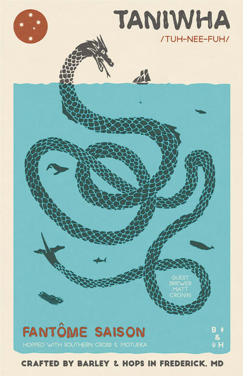 Taniwha Saison craft beer poster