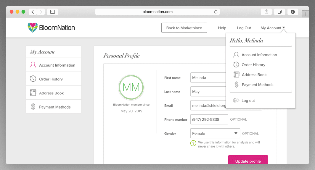 BloomNation: Account Management
