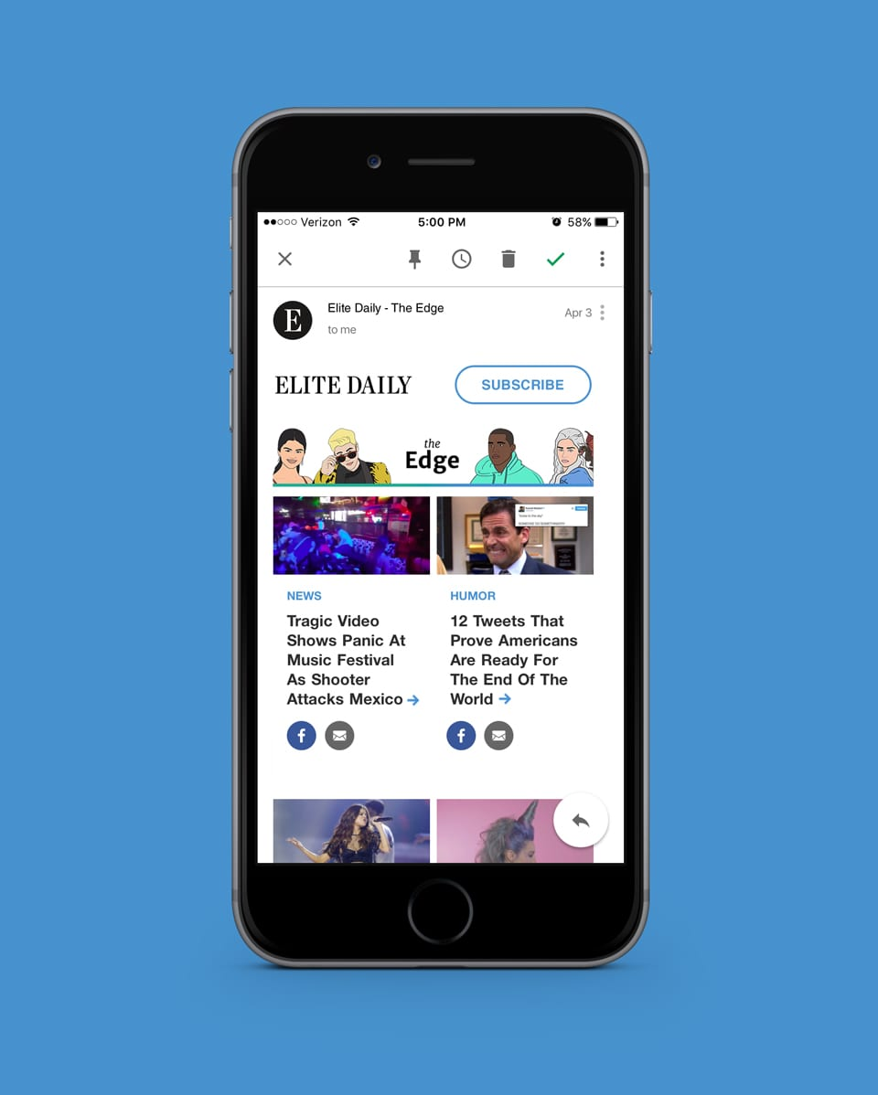 Elite Daily The Edge Newsletter Redesign