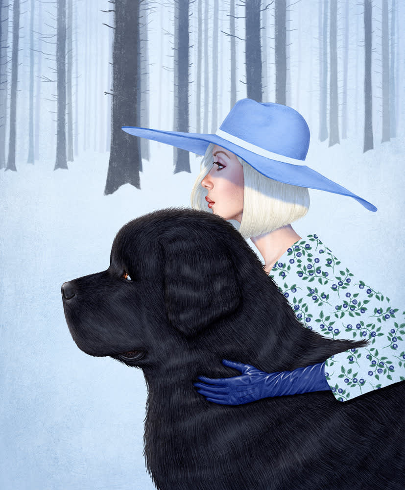4 Seasons Vintage Fashion Women with Giant Breed Dogs