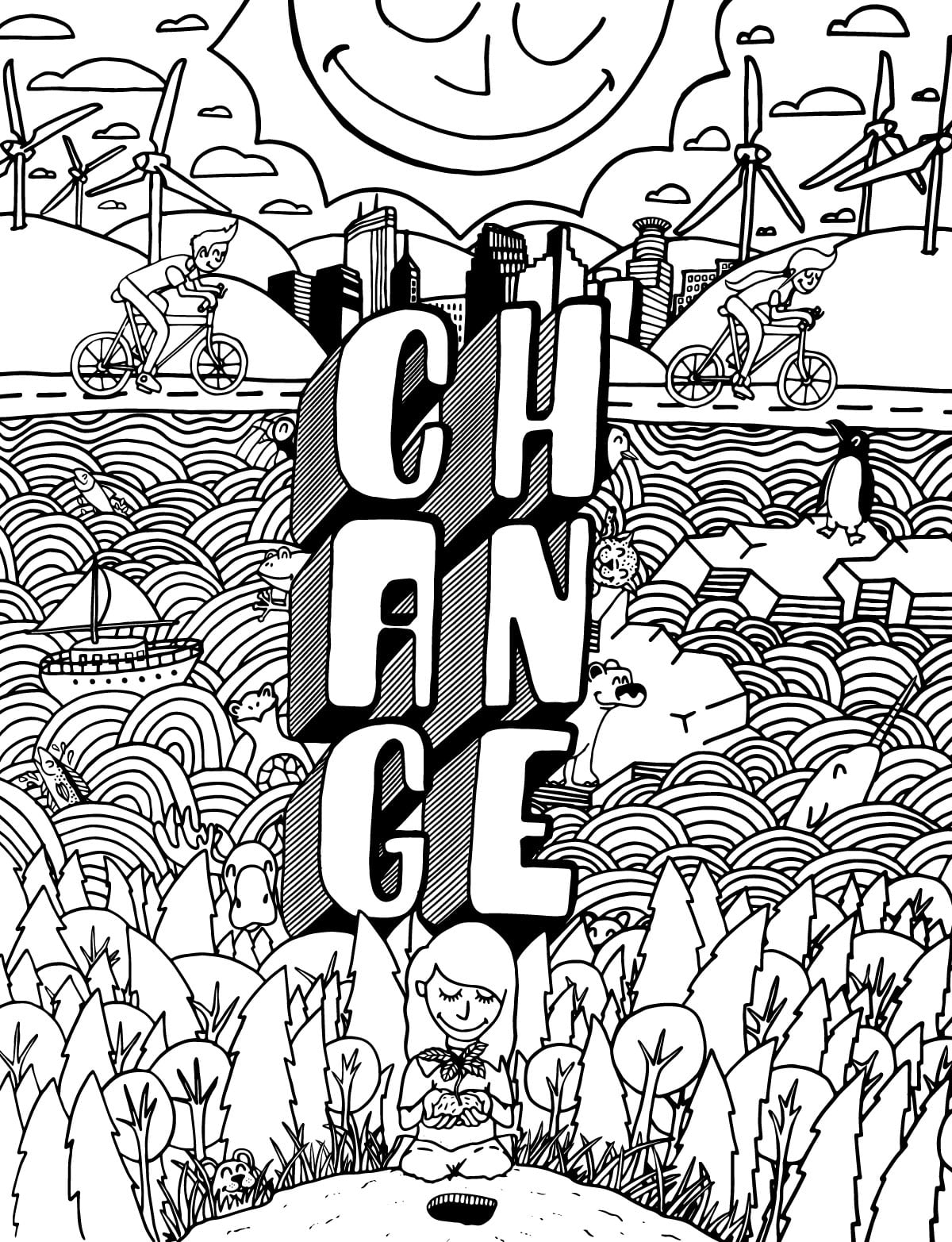Climate Change coloring book page