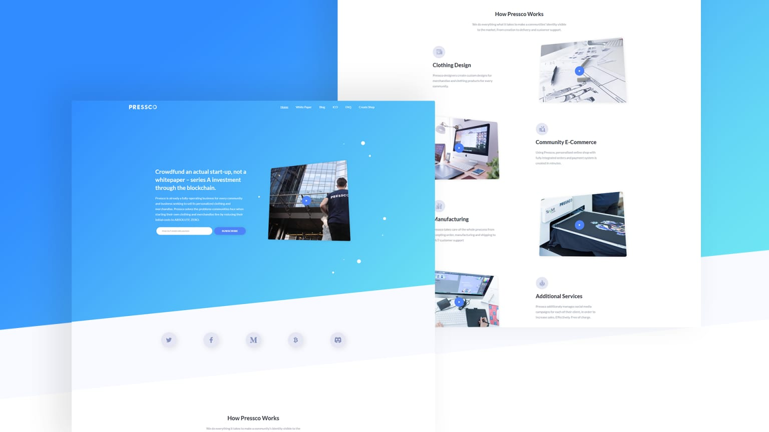 Pressco Landing page for a startup.