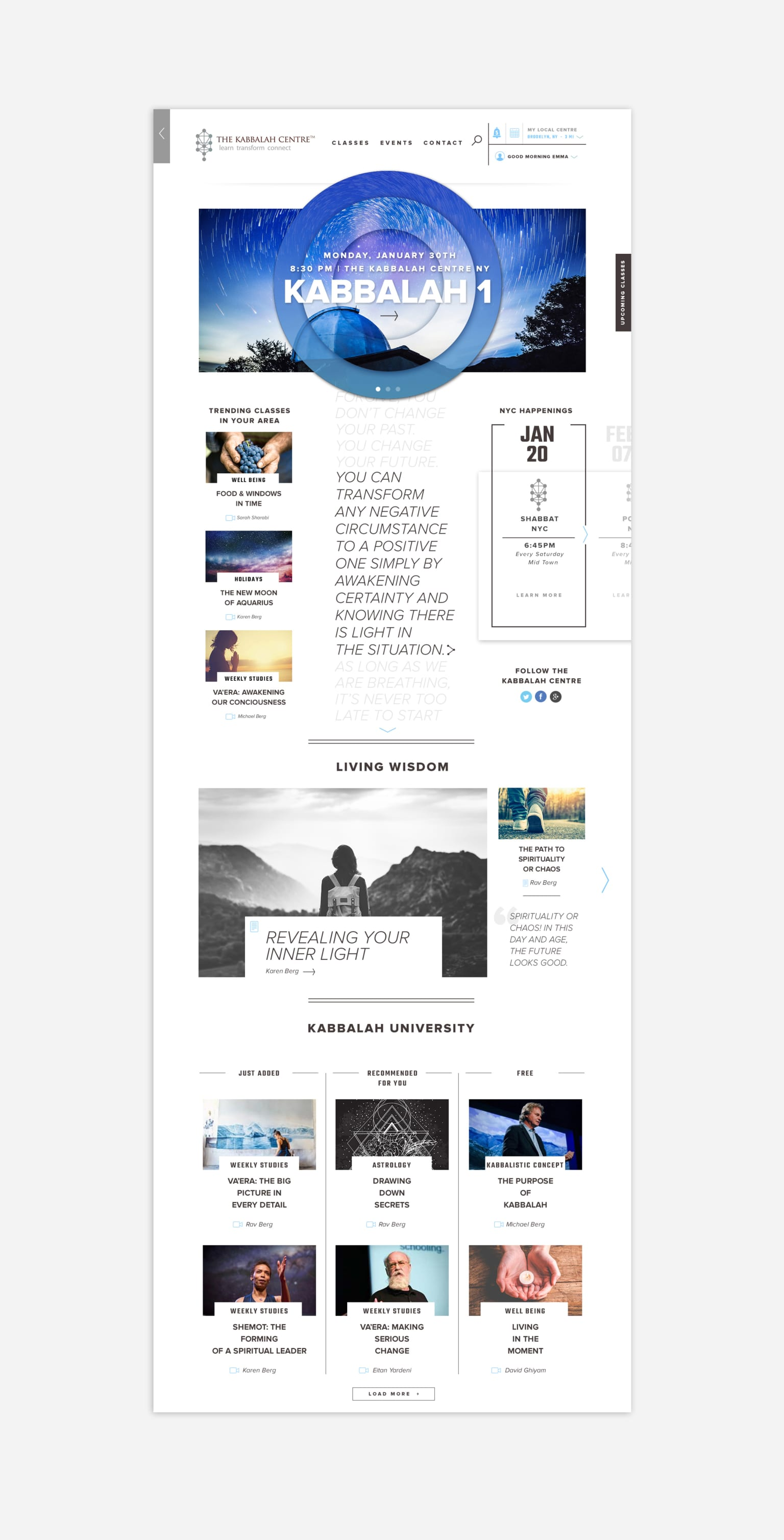 """A reimagined site design for """"The Kabbalah Centre"""""""