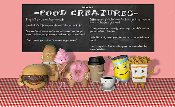 Wrigley's Gum: Break Up With Lingering Food: The Food Creatures