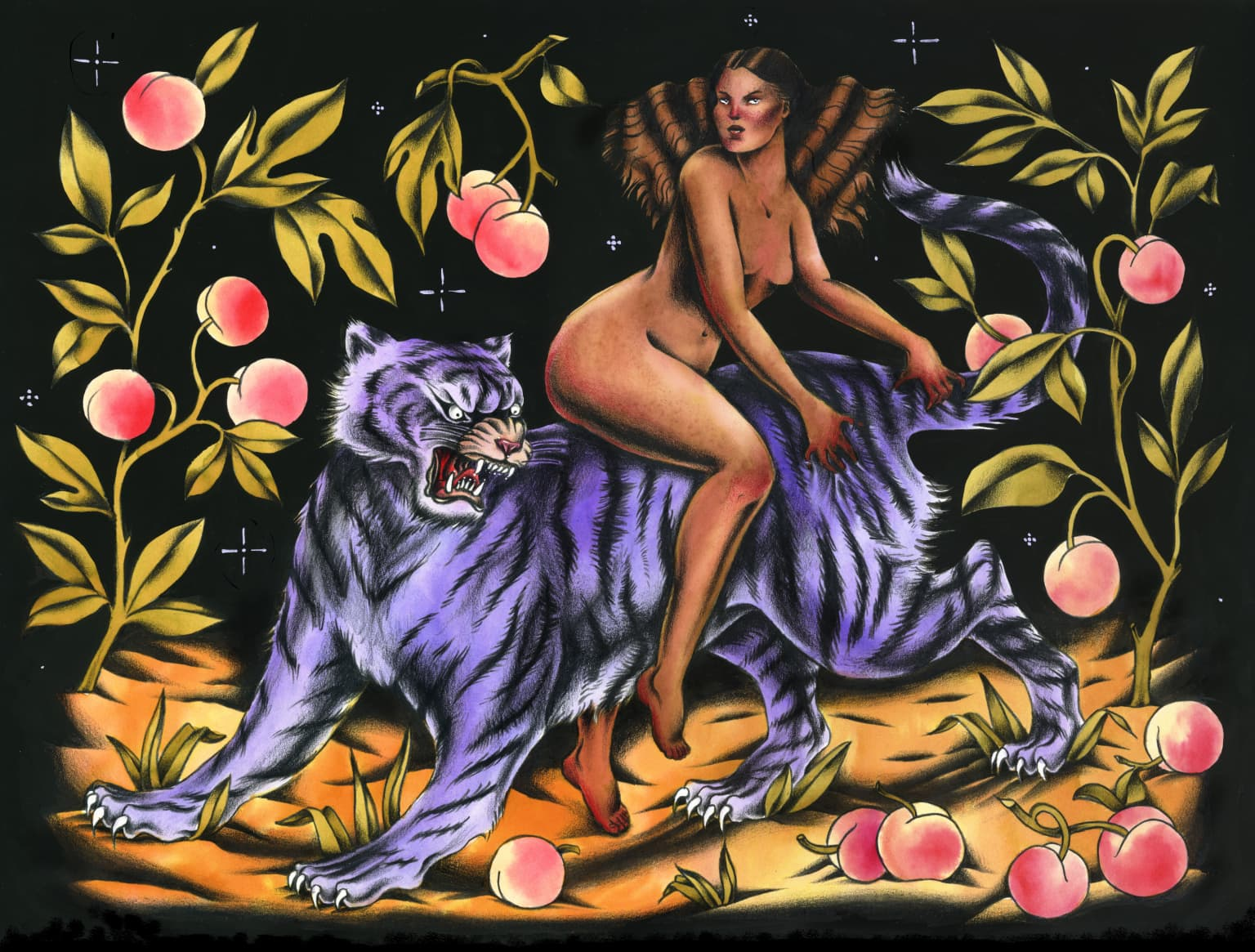 Woman & Tiger, Peaches