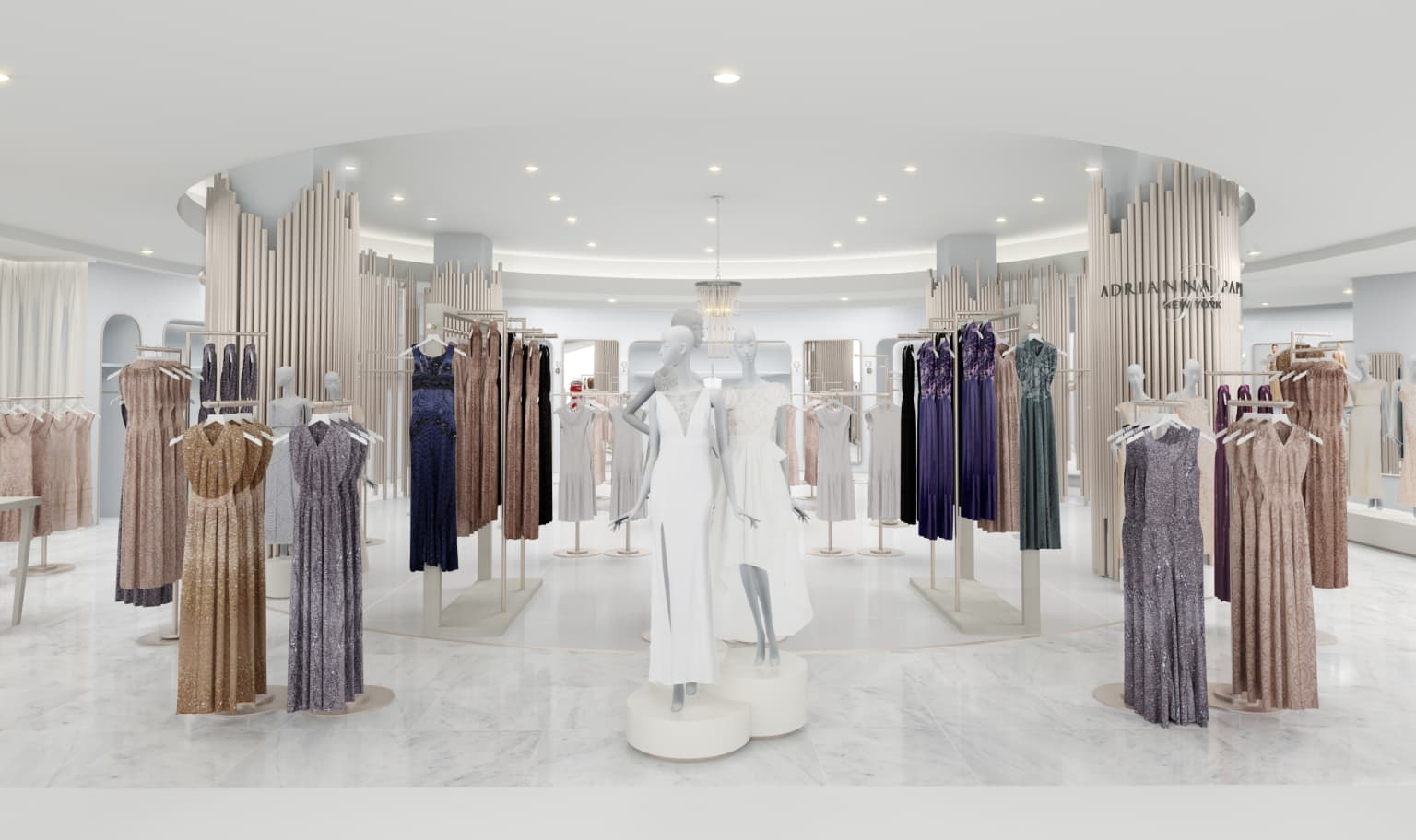 """""""Adriana Papell"""" HSQ Macy's Retail store 3d renderings"""