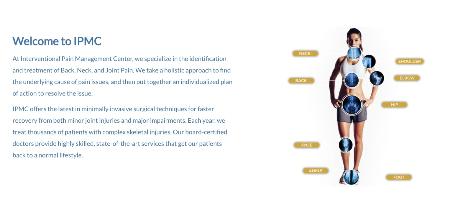 Landing Page for Pain Management Center