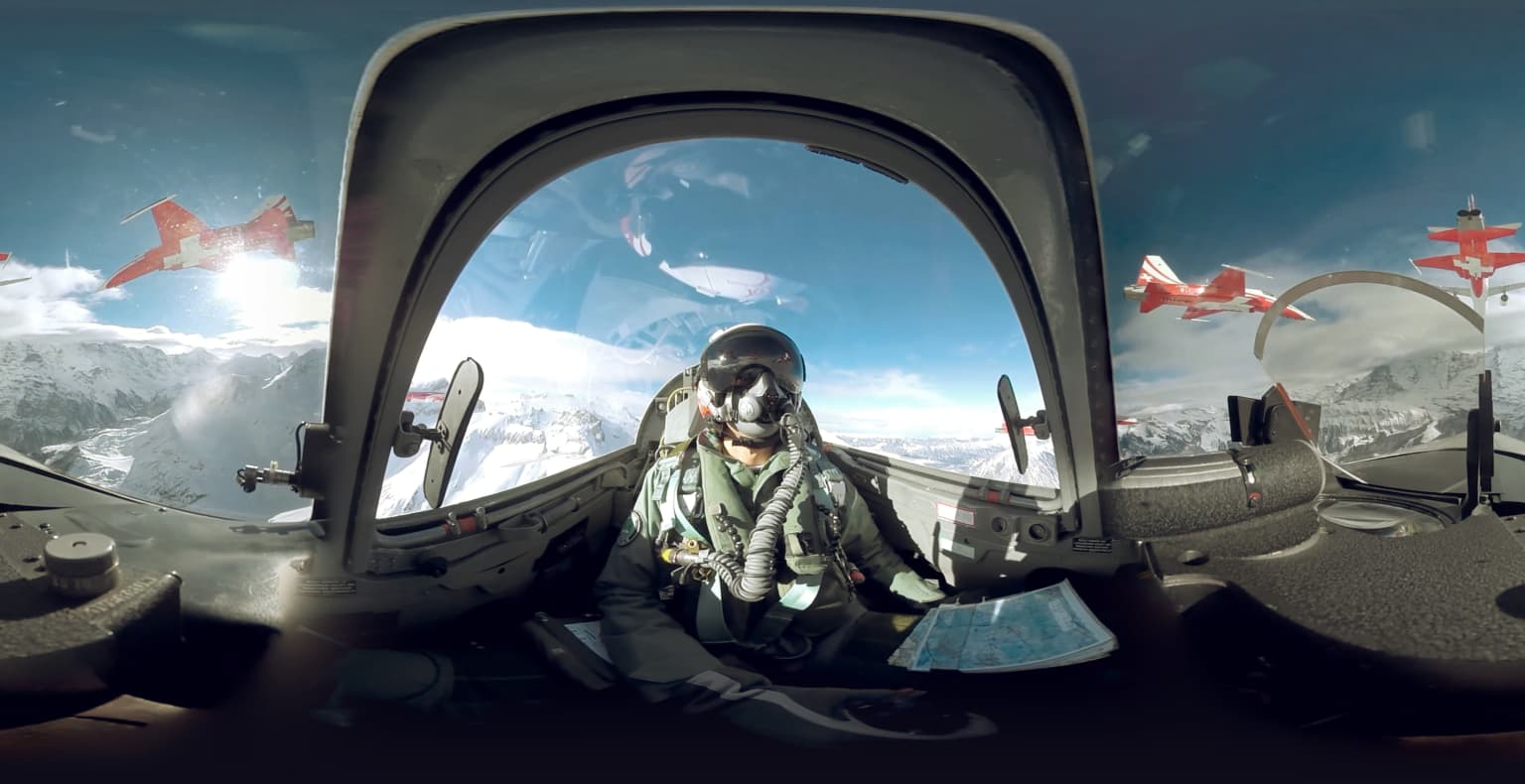 360 with Swiss fighter jet over the alps