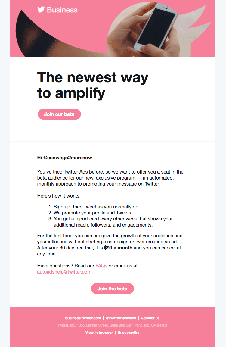 Marketing email - Twitter for Business