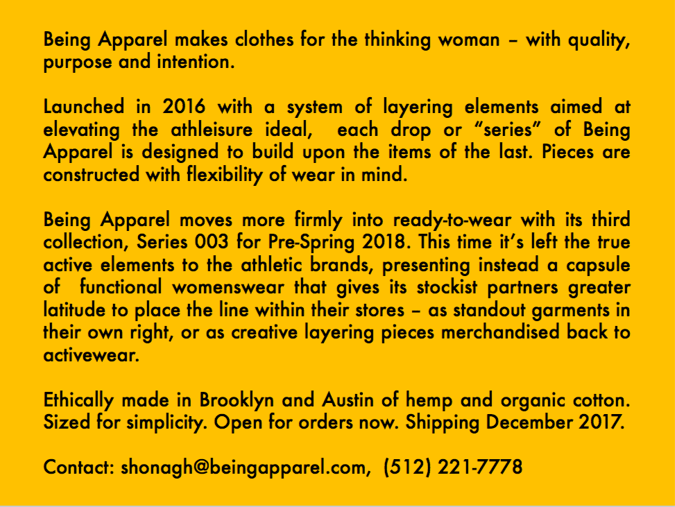 Being Apparel Series 003 Lookbook