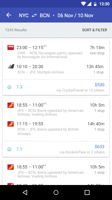 Flights Android application