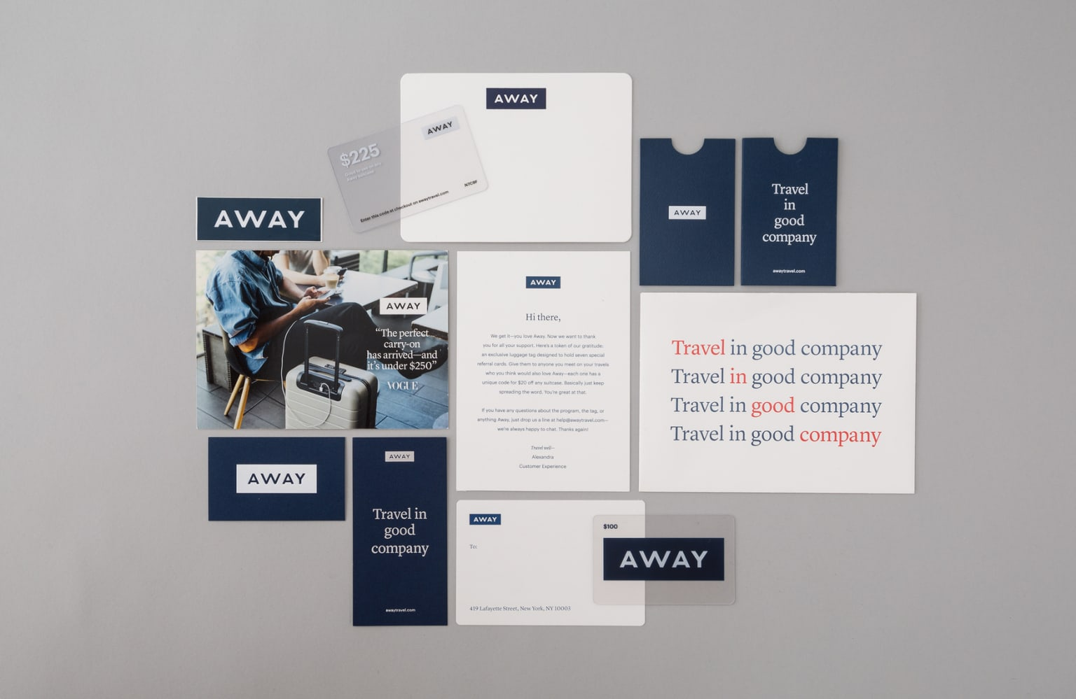 Away Travel Brand Packaging and Print Material
