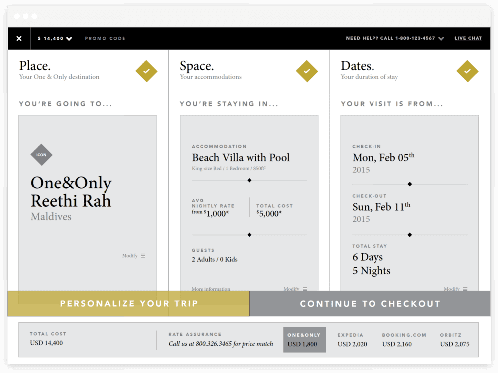 One & Only Resorts - Booking Engine (Looking Flow)
