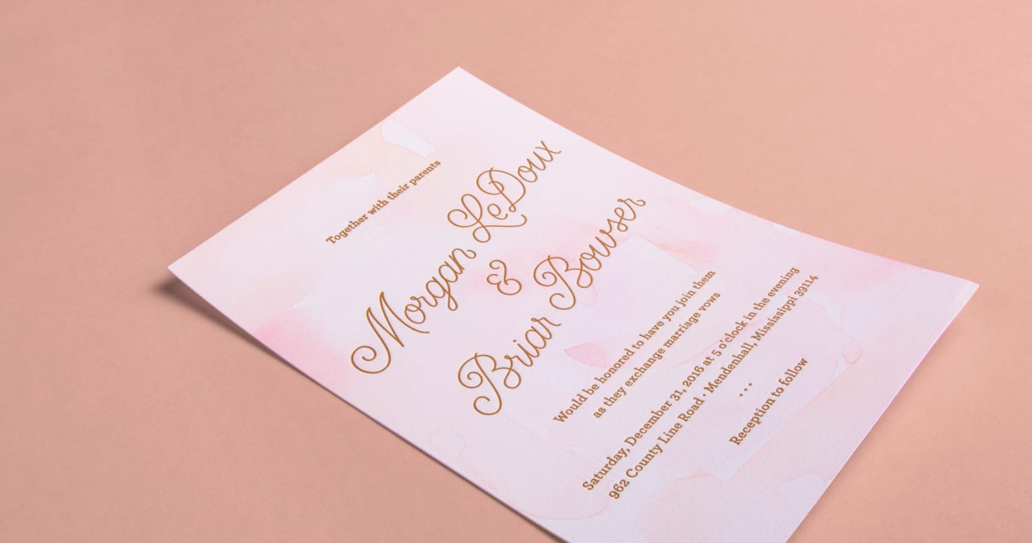 Wedding Invites - lettering / letterpress / watercolor