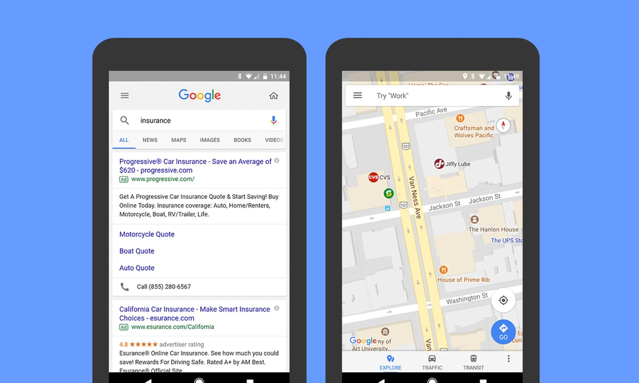 Ads in Google Maps and on Google Search