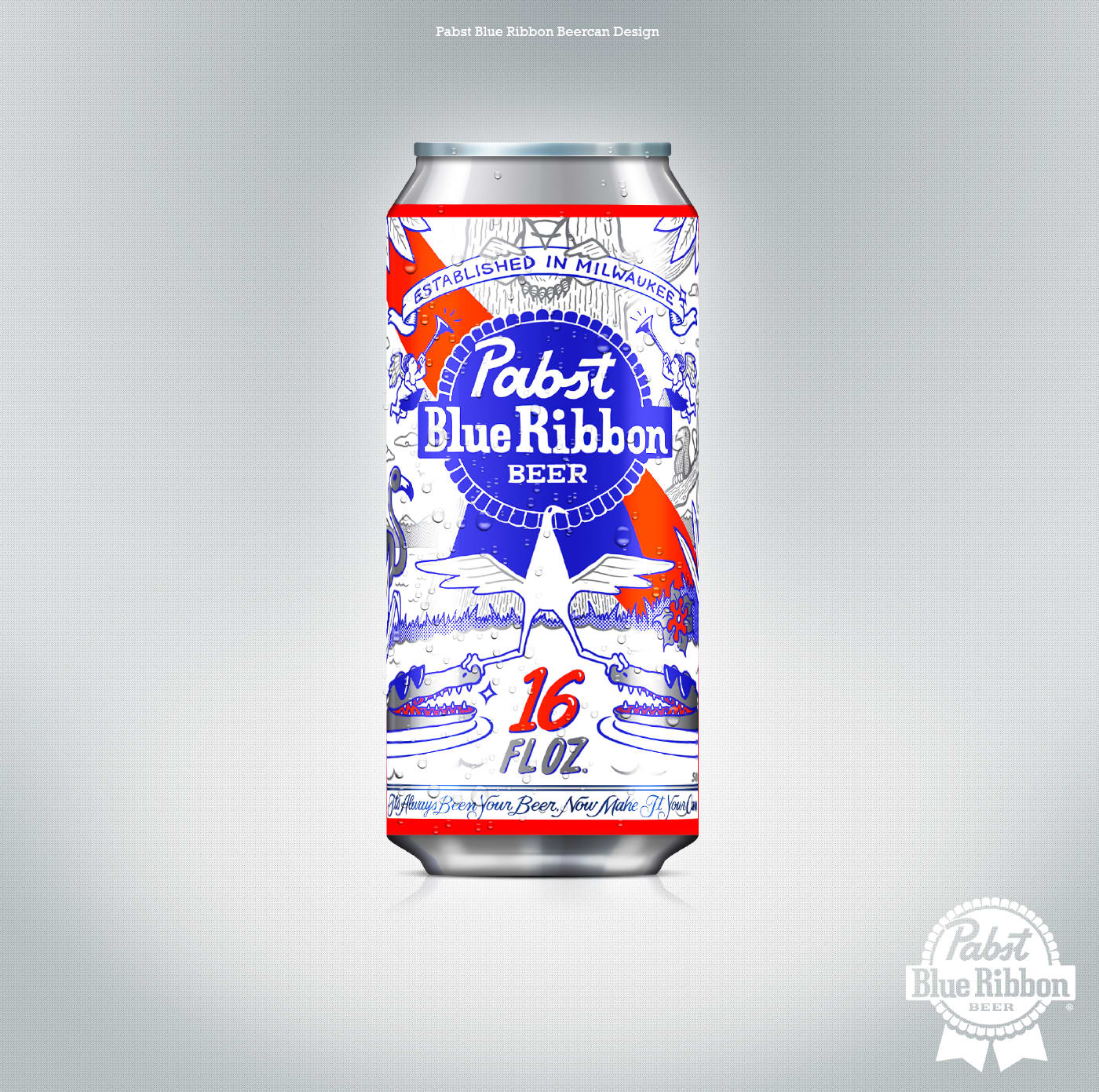 Pabst Blue RIbbon Beercan Design