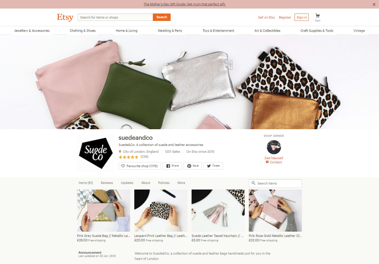 Suede& Co Etsy story