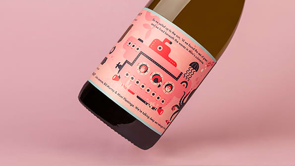 The Magnificent Journey of Mimi Flamingo in Search of Arcadia Wine Label