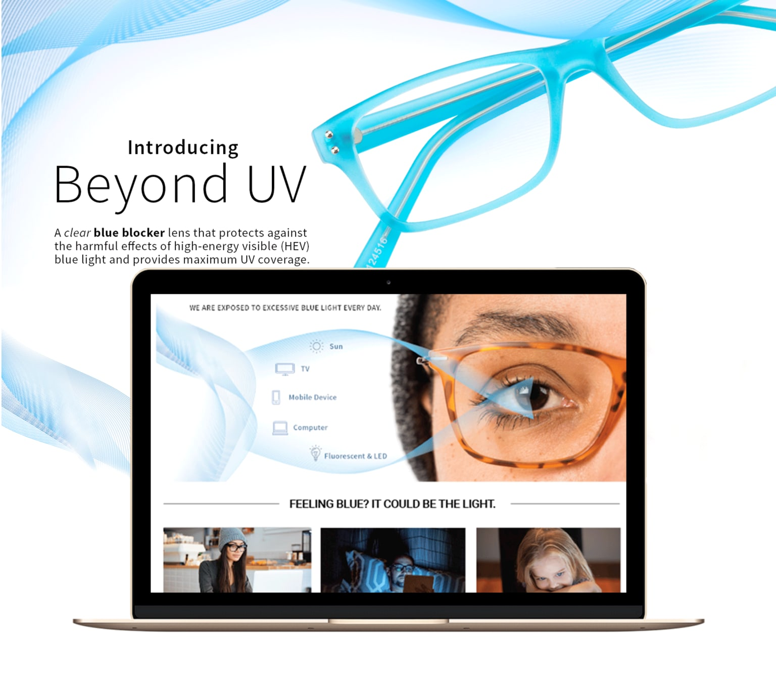 BEYOND UV BLUE BLOCKER Landing page design