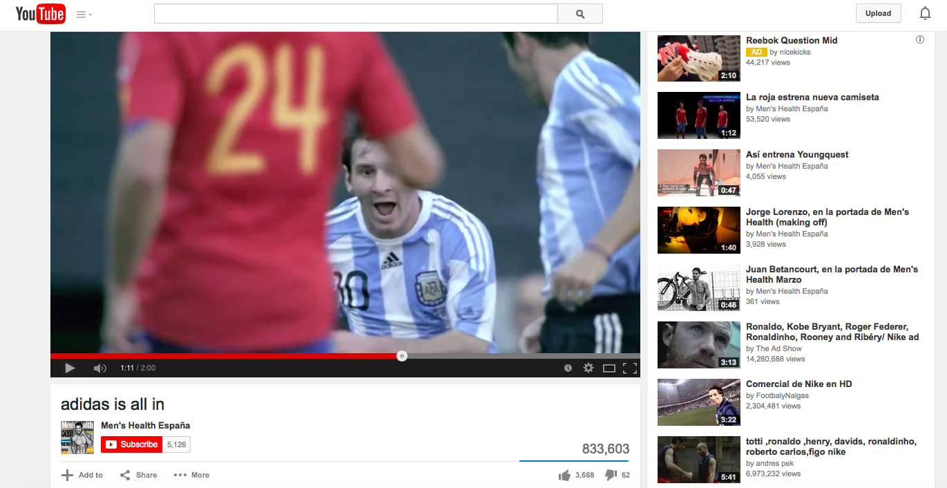 Adidas is all in interactive YouTube campaign