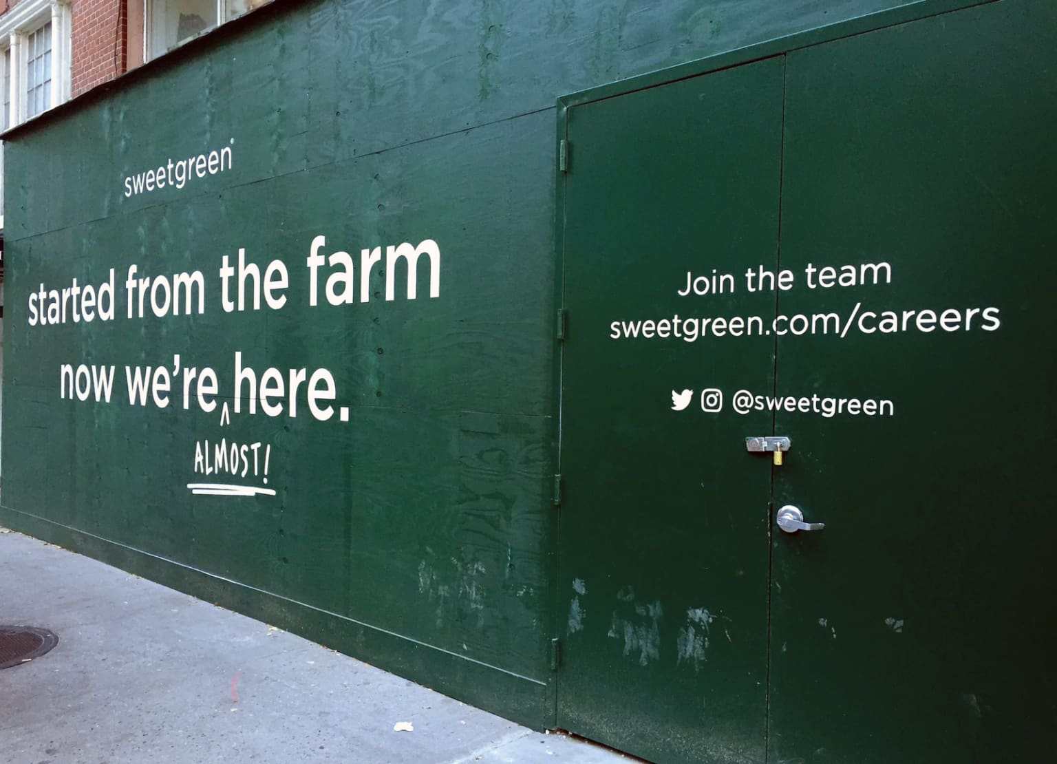 Sign painting for new Sweetgreen location on 61st St and Lexington, NYC.