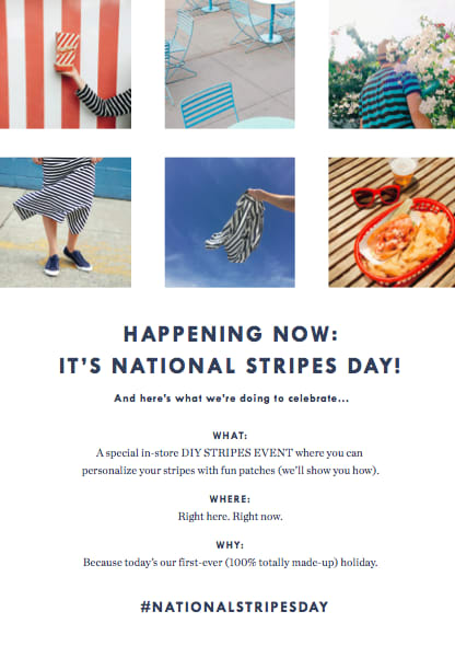 J.Crew National Stripes Day Branding