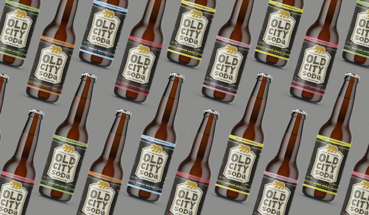 Old City Soda branding and packaging