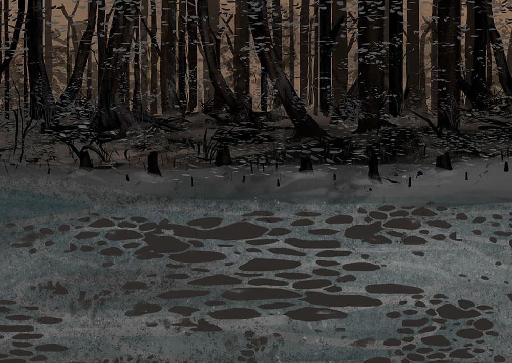 Background art for scrapped animation
