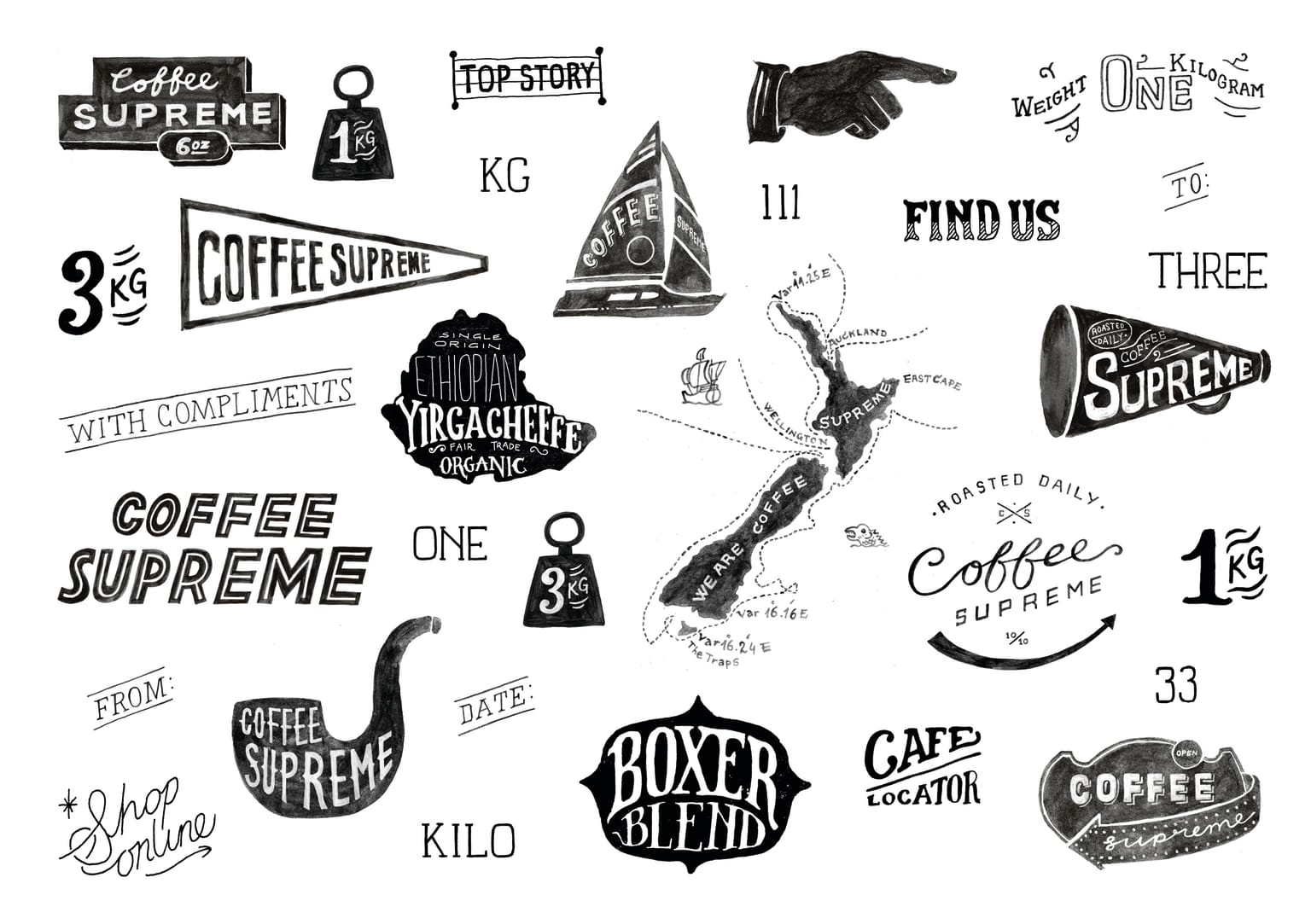 Branding, print, digital: Coffee Supreme