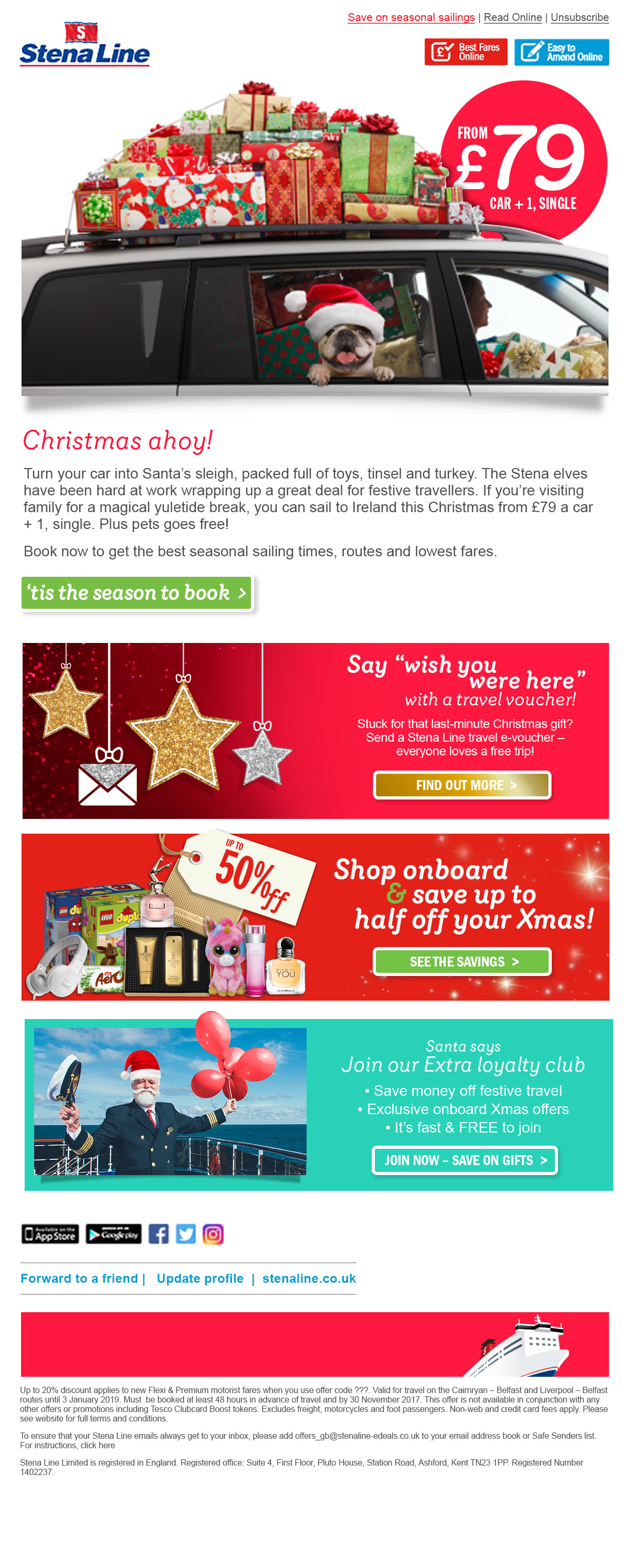 Stena Christmas Travel email