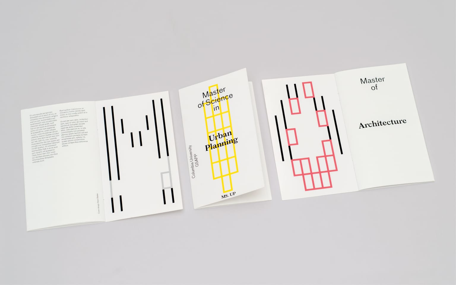 Cover designs for Columbia University GSAPP master programs