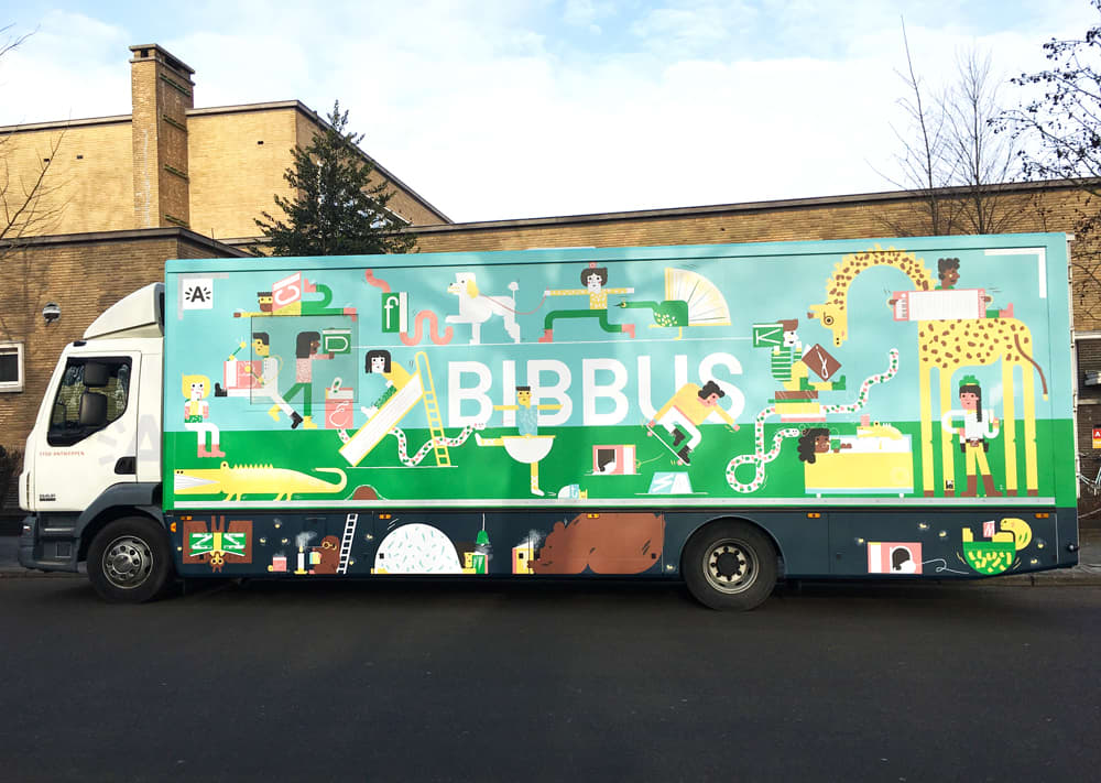 A library in a truck.